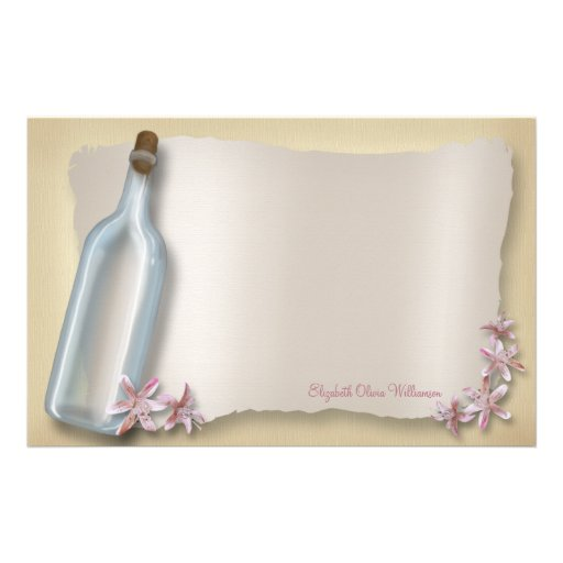 Message From a Bottle ~ horizontal stationery