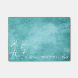 Message from Mom Dad Zorro Chalkboard Mint Sweet Post-it® Notes