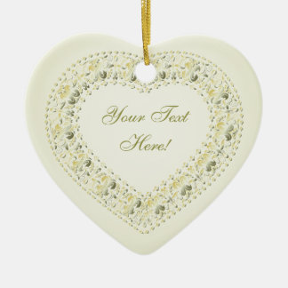 Message From The Heart-Green-Yellow-Heart Ornament