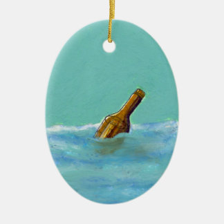 Message in a bottle at sea oil pastel drawing art ornaments