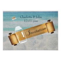 Message in a bottle Beach Wedding Card