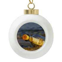 Message In A Bottle Ceramic Ball Christmas Ornament