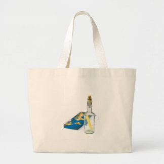 message in a bottle large tote bag