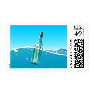 Message In A Bottle Love Message Stamp
