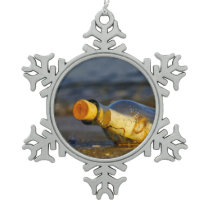 Message In A Bottle Snowflake Pewter Christmas Ornament