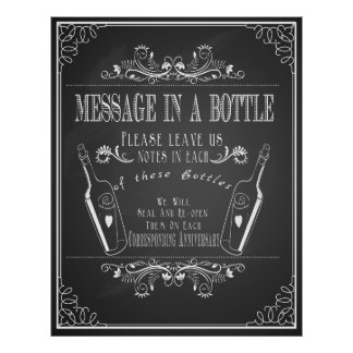 """""""Message in a bottle"""" wedding guest book Poster"""