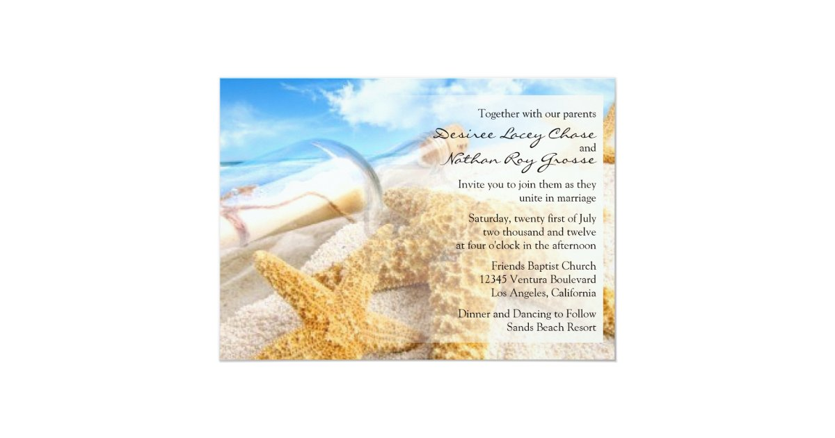 message in a bottle wedding invitations zazzle