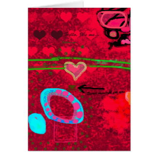 Message in red abstract picture card