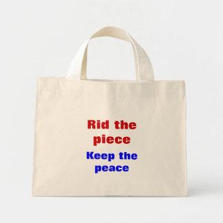 Message of peace mini tote bag