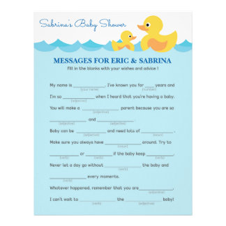Messages for Parents To Be Rubber Duck Baby Shower Letterhead