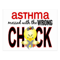 Messed With Wrong Chick Asthma Postcard