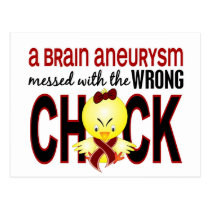 Messed With Wrong Chick Brain Aneurysm Postcard
