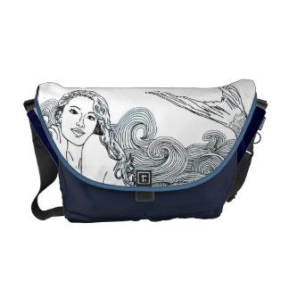 "Messeger Bag Navy Blue ""Curvy Waves Sirena"""