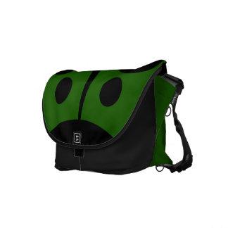 Messenger Bag, Abstract Ladybug, Green & Black Messenger Bag