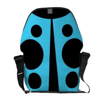 Messenger Bag, Abstract Ladybug, Lt. Blue & Black Messenger Bag