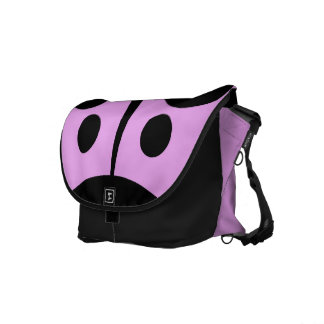 Messenger Bag, Abstract Ladybug, Pink & Black Messenger Bag