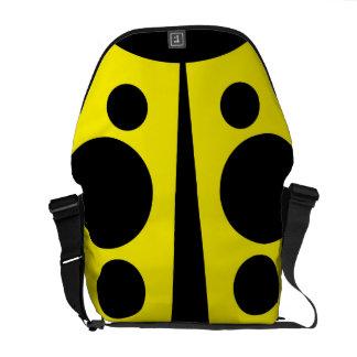 Messenger Bag, Abstract Ladybug, Yellow & Black Messenger Bag