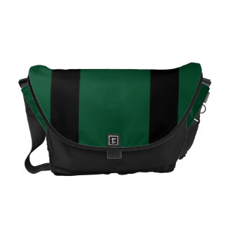 Messenger Bag, Black & Green Racing Stripes Courier Bag