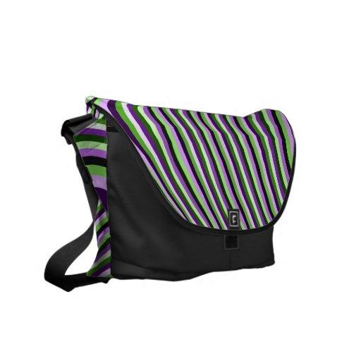 Messenger Bag, Curved Stripes, Purple, Green, Blac
