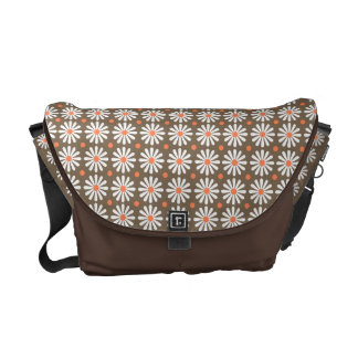 Messenger Bag - Daisy Pattern in Brown