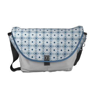 Messenger Bag - Daisy Pattern in Pale Blue
