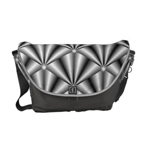 "Messenger Bag - ""Diamond"" Silver Gray Fans"