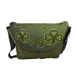 Messenger  Bag Gold and Green Shamrocks