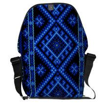 Messenger Bag LARGE Ukrainian Embroidery Blue