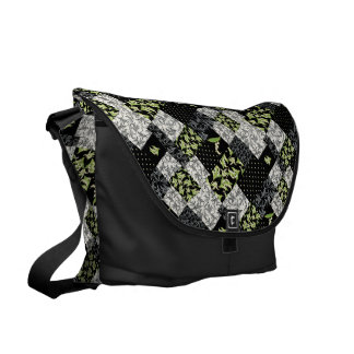 Messenger Bag: Lily of the Valley, Black Patchwork