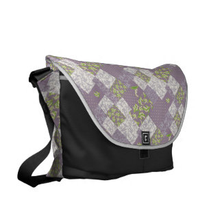 Messenger Bag: Lily of the Valley, Mauve Patchwork