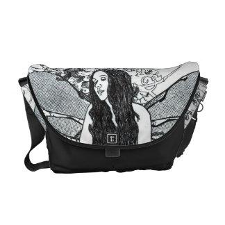 Messenger Bag-MED. Scroll Fairy BLK Messenger Bag