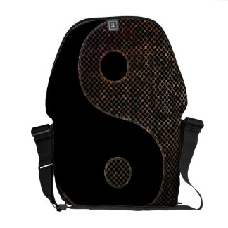 Messenger Bag, Metal Grunge Holes Yin Yang Courier Bag