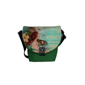 Messenger Bag-MINI Seashell Mermaid Green Courier Bag