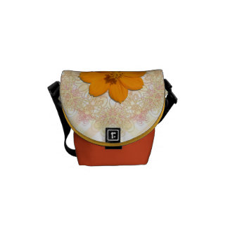 Messenger Bag - Orange Cosmos on Lace & Lattice