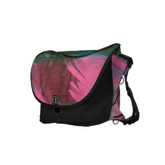 Messenger Bag, Pink Flower Painting Messenger Bags
