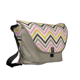 Messenger Bag: Pink, gray, yellow chevron pattern Messenger Bag