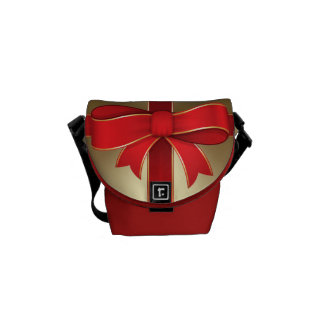 Messenger Bag - Red Bow & Ribbon on Gold