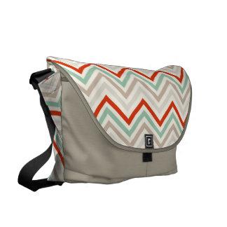 Messenger Bag: Red, gray, mint chevron pattern Courier Bag