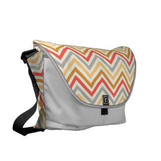 Messenger Bag: Red, gray, yellow chevron pattern Messenger Bag