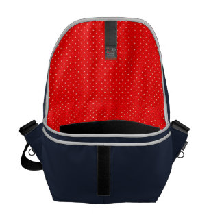 Messenger Bag Red with White Dots inside