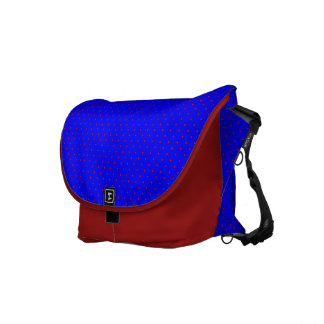 Messenger Bag Royal Blue with Red Dots outside