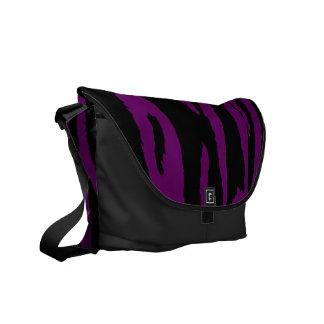 Messenger Bag, Tiger Stripes, Purple & Black Messenger Bag