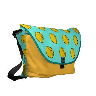 Messenger Bag: Turquoise & Yellow pop art lemons Messenger Bag