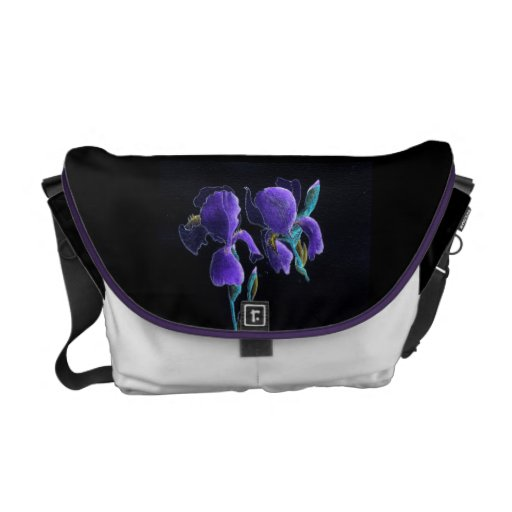 Messenger Bag Two Purple Irises