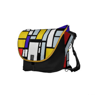 Messenger Bag w/Geometric Design in Primary Colors