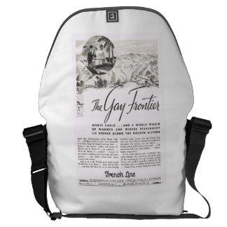 Messenger Bag with 1920's Retro Travel Ad