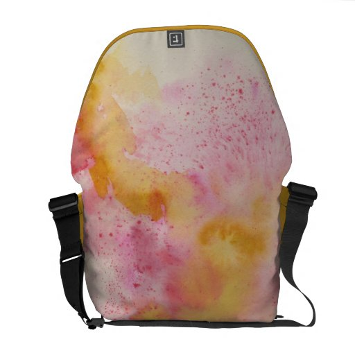Messenger Bag with Abstract in Pink and Yellow