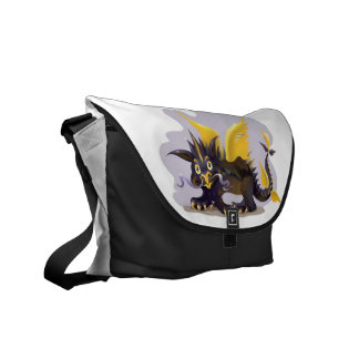 Messenger Bag with funny black dragon picture