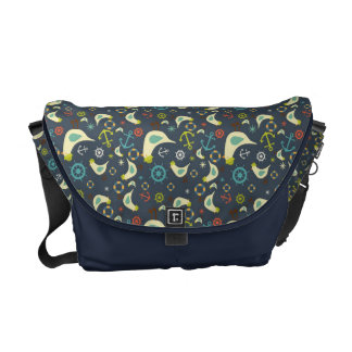 Messenger Bag With Nautical Retro Seagull Design