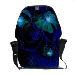 Messenger Bag with Vivid Deep Blue Giant Flowers